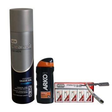 SHAVING KIT (clearasil shave gel +arko aftershave +dorco double edged razor blade +cutthroat)