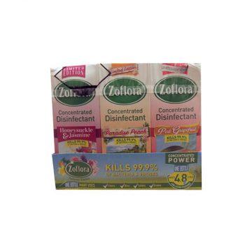Zoflora – Honeysuckle & Jasmine + Paradise Peach + Pink Grapefruit – Trio 12 X 120ML