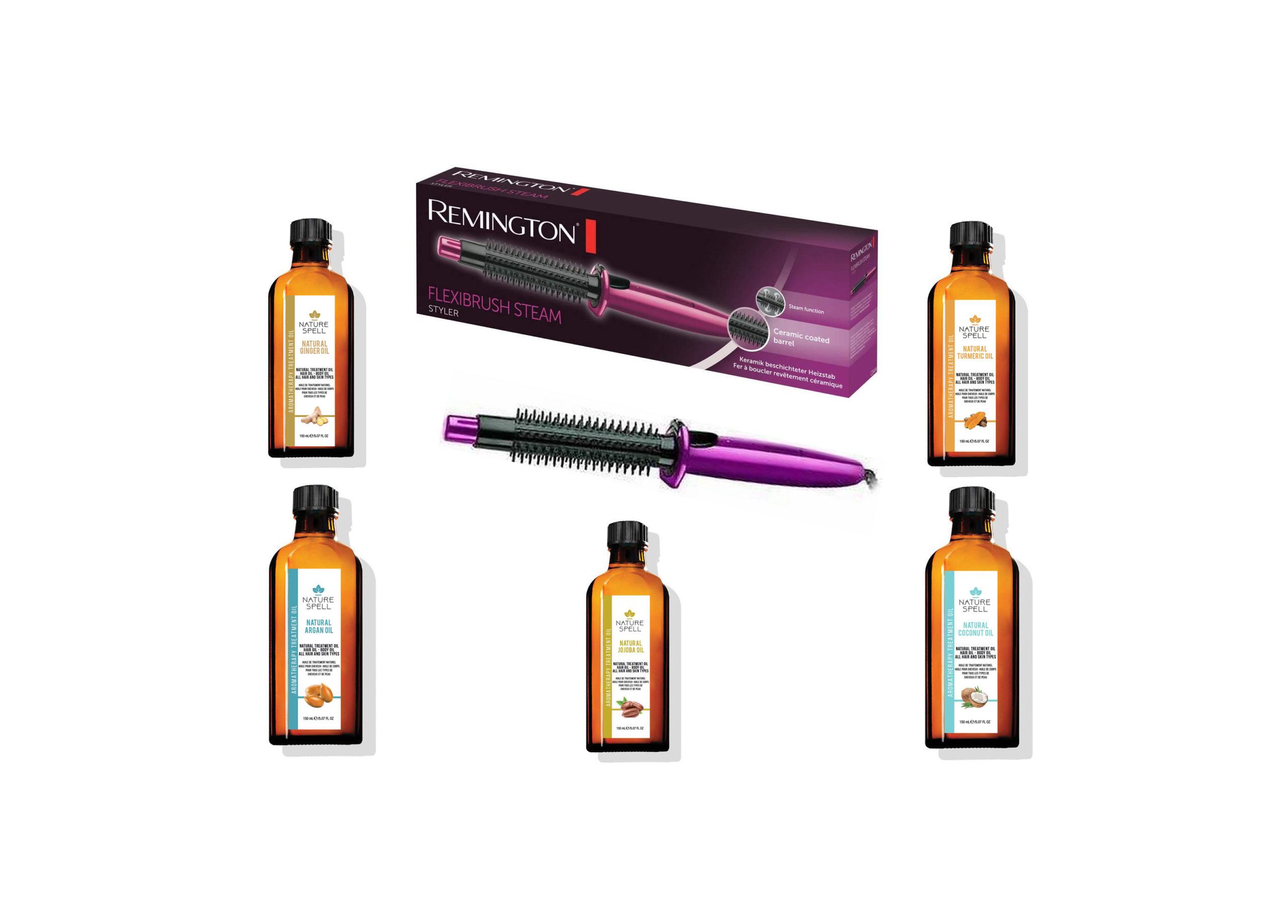 Remington Flexibrush Steam Styler CB4N With Choice of Nature Spell Hair Oil
