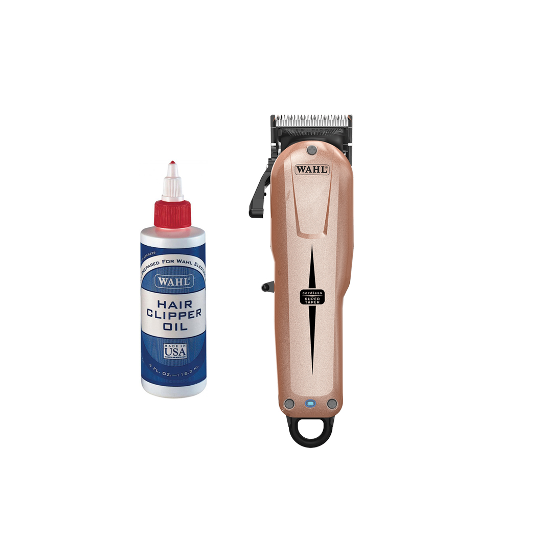 Wahl Super Taper Cordless Limited Edition Gold/Rose Clipper With Wahl Clipper Oil
